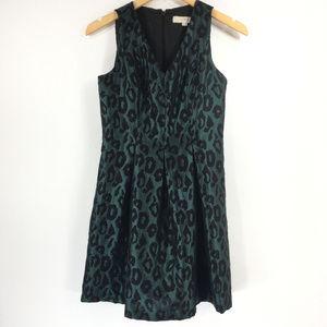 Ann Taylor LOFT 2P Green Fit Flare Pleated Dress